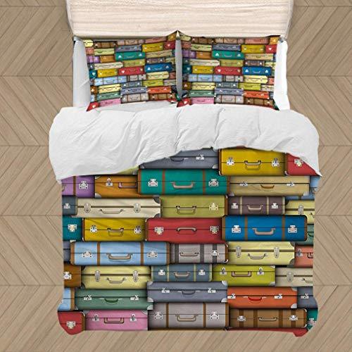 Set da copripiumino moderno, valigia variopinta sfondo vintage viaggio viaggio vacanze a tema tematico design a tre pezzi set da 3 pezzi con 2 cuscini da cuscino e 1 copripiumino
