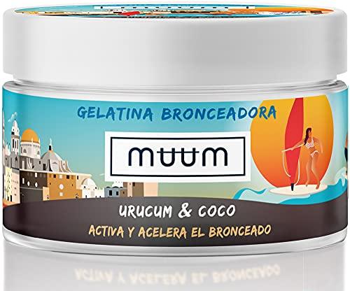 muum - Gelatina Bronceadora de Urucum y Coco - Acelerador del Bronceado con Antioxidantes Naturales, Hidrata y previene manchas y arrugas - Bronceado de tono dorado y natural - 200 ml.