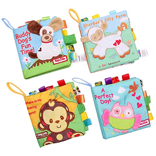HanShe Baby Soft Book Cloth Book Set 4 Pack Crinkle Book Educational Learning Toy
