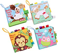 HanShe Baby Soft Book Cloth Book Set 4 Pack Crinkle Book Educational Learning Toy for Infant Fabric Baby Activity Crinkle Book for Infants Toddler for boy Girl Unisex