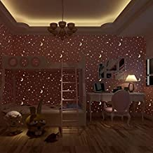 Store2508® Glow Effect Night Sky Design Star and Moon Luminous Wallpaper Kids Ceiling Decor Fluorescent Wall Paper for Children Bedroom (0.53 * 10m, Appx. 57 Sq Feet) (Pink)