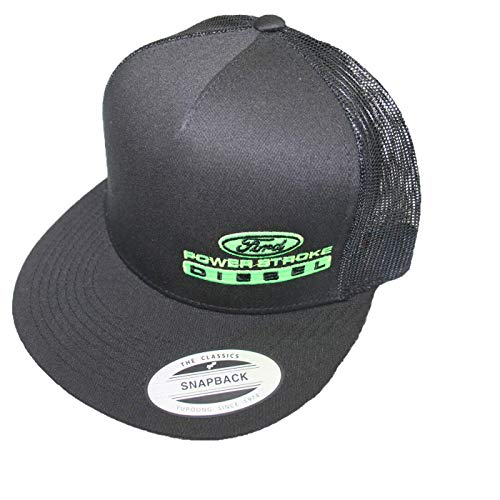 Lime green embroidered black Ford Powerstroke Flat bill ball cap snapback Summer...