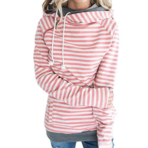Newbestyle Pulli Damen Gestreift Sweatshirt Pullover Hoodies Langarm Kapuzenpullover Tops mit schrägem Reißverschluss Rosa X-Large