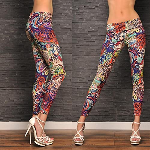 Leggings Push Up Mujer,Estilo Europeo y Americano Color Color Casual Flores Leche Leche Piernas pequeñas Piernas Leggings-Figura_Código