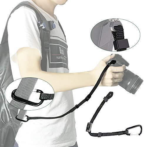 UONNER Kamera Secure Strap DSLR SLR Karabinerhaken + Robustem Nylon Sicherungsseil für Kamergurt Kamera-Schultergurt Trageriemen