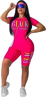 ThusFar Women Casual Two-Piece Outfit - Short Sleeve Colorful Lip Print Short Pants Sport Suit