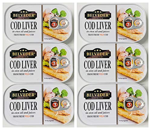 Icelandic Wild Cod Liver Canned 120g can pack of 6