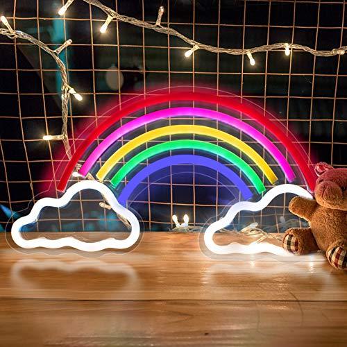 Regenbogen LED Leuchtreklamen, trounistro Neonlicht Bunte Neon Lampe Nachtlichter, USB-betriebene Wand Dekor für Weihnachten Geburtstagsfeier Kinderzimmer Hochzeit Party