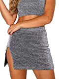 just quella Women's High Waist Above Knee Sparkle Mini Skirt Short Bodycon Skirt (XS, Silver Lurex Mini Skirt)