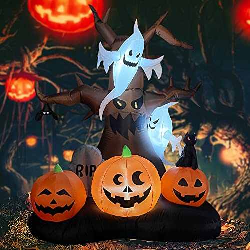 GOOSH 8 FT Halloween Inflatables Outdoor Dead Tree with White Ghosts & Pumpkins, Blow Up Yard Decoration Clearance with LED Lights Built-in for Holiday/Christmas/Party/Yard/Garden