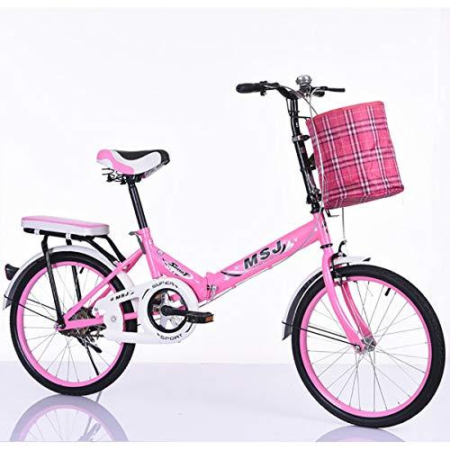 "GXLO Bikes First Class Folding Stadt Fahrrad mit Korb Komfortsattel Damen Cruiser Bike - 20\"" Tragbare Falten Fahrrad"