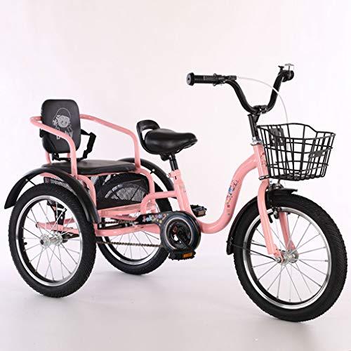 De Los Niños Triciclo Pedales 16 Pulgadas / 18 Pulgadas, Neumáticos 2-12 Años Edad Doble Inflables For Adultos Niños Bicicletas, Marco Acero Carbono Alta Espesados Neumáticos Resistentes Desgaste