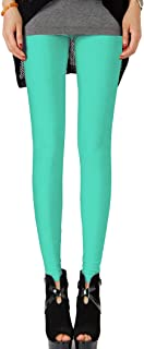 Aiko Fashion Colorful Shiny Neon Leggings Stretch Fluro Metallic Pants for Gym Yoga Dance