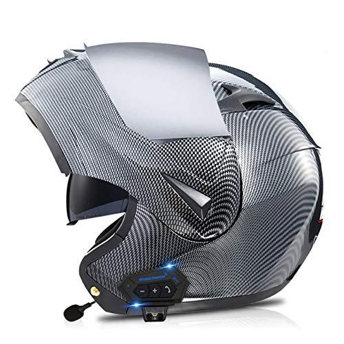 Casco Moto Modular Con Bluetooth Integrado Y Micrófono Casco De Moto Integral Homologado ECE Diseño Ligero Casco De Motocicleta Con Flip Visera Solar Doble Casco Para Mujer Y Hombre B,XL