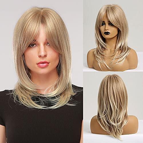 EMMOR Parrucca lunga bionda per donna - Parrucche sintetiche naturali per capelli con frangia, uso quotidiano per cosplay per feste (2 pezzi di protezione per parrucca gratuita)