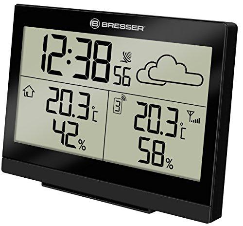 Bresser Funkwetterstation Temeo Trend LG für Temperatur und Luftfeuchtigkeit inklusive Wettertrend-Vorhersage und Funkuhr mit Wecker, schwarz