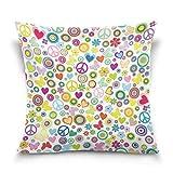 Funda de almohada decorativa cuadrada con diseño de mariposa, corazón y corazón, para sofá cama, 24 x 24 pulgadas