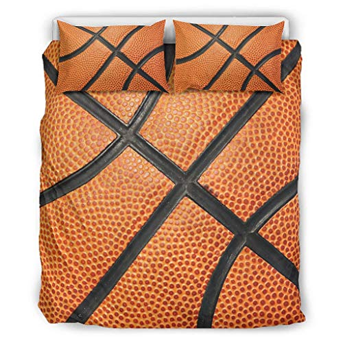 O2ECH-8 Basketball Texture Bedspreads Toaster Sets Hypoallergenic 3-Piece Pillow Cases and Pillowcases Cool Player Love Soft and Comfortable Bohemian Bedding Sets, White, 229x229cm