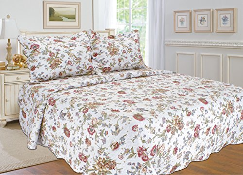 """ALL FOR YOU 3pc Reversible Supreme 100% Cotton Bedspread, Coverlet,Quilt Set-Flower Prints-Full/Queen Size-86"""" x 86"""""""