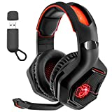 EMPIRE GAMING – WarCry P-W1 Casco Gamer Inalámbrico con Micrófono - 2,4 GHz Wireless - Sonido Estéreo Surround -LED Roja -Compatible PC/PS4/PS5/Xbox/Nintendo Switch/Mac