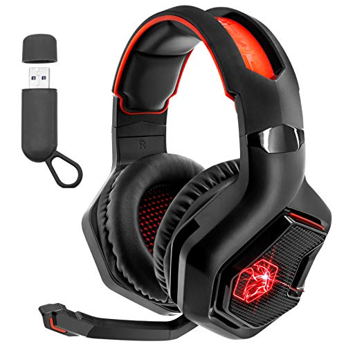 EMPIRE GAMING -WarCry P-W1 Casque Gamer sans Fil avec Microphone -PS5/PS4/PC/Mac/Xbox/Nintendo Switch_2.4 GHz Wireless -Son Stéréo Surround -LED Rouge -3.5mm Jack