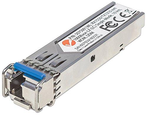 Intellinet Gigabit SFP Mini-GBIC Transceiver WDM bidirektional für LWL-Kabel 1000Base-LX (LC) Singlemode-Port 10 km WDM (RX1550/TX1310) 507509