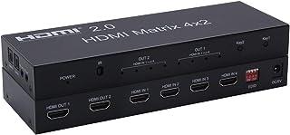 2.0 HDMI Matrix 4x2 4K @ 60Hz HDR Switch Splitter 4 Entradas 2 Salida RGB/YUV 4:4:4 Optical SPDIF y Salida Audio Jack 3.5 mm con Control Remoto
