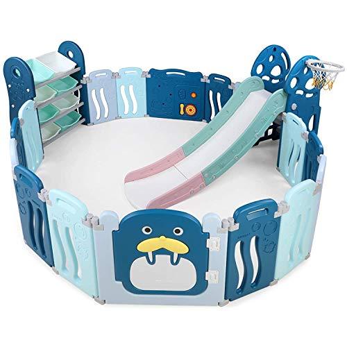 Bamny Box Recinto per bambini, Box Pieghevole con Scivolo e Ripiano Portagiochi, Baby Cancello per Sicurezza con 8 Contenitori e Divertente Scivolo, 14 + 2 con Porta per Bambini da 1-6 anni