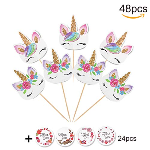 48-pack Unicorn Cupcake Toppers,Double Sided Unicorn Horn and Rainbow Picks with 24-pack Thank You Stickers,Birthday Party Decorations Supplies