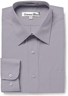 Gentlemens Collection Men's Regular & Slim Fit Long Sleeve Solid Dress Shirt