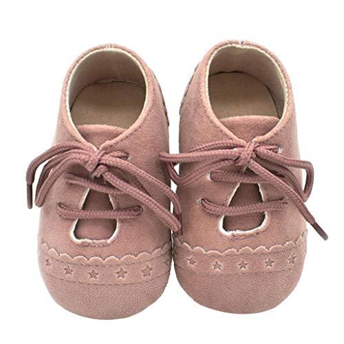 Zapatos Bebé Niña 2019 SHOBDW Zapatos Bebé Niño Verano Suela Suave Antideslizante Zapatillas Ata para Arriba Zapatos Bajos Linda Zapatos Bebé Recién Nacida Zapatos Bebe Primeros Pasos(Rosa,0~6)