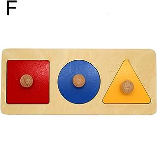 Sanwooden Interesting Toy Wood Board Toy Montessori Wood Knob Puzzle Peg Board Geometric Shape Match Baby Educational Toy ...