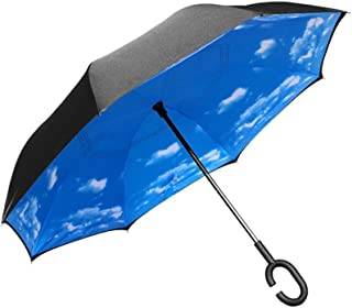 Dopobo Double Layer Inverted Umbrella Cars Reverse Umbrella Extremely Waterproof and Windproof Inverted Umbrella with C-Shaped Handle (S-B)