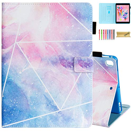 Dteck Case for Apple iPad Pro (9.7 Inch, 2016 Release, Model Number A1673 A1674 A1675) - Protective Leather Smart Stand Wallet Flip Cute Cover Case with Auto Sleep Wake/Stylus Pen (Pink Galaxy)