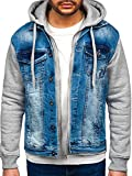 BOLF Hombre Chaqueta Vaquera con Capucha Cierre de Botones y Cremallera Denim Entretiempo Cazadora Plumas Jacket Sweater Chaqueta de algodón Estilo Diario 10350 Azul M [4D4]