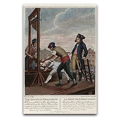 Execution Robespierre Guillotine French Revolution Art - Tela artistica da parete, decorazione da parete artistica moderna, con pannello senza cornice, per poster e decorazione da parete