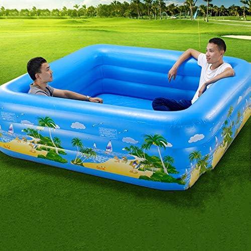 ZHKGANG Schwimmbad Hause Kinder Rechteckig Planschbecken Sommer Garten Sitz Halterung Pool,Blau-200  200cm(DeluxeEdition)
