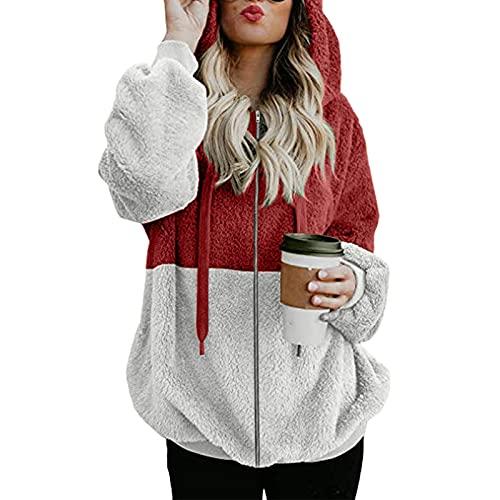 FMYONF Sudadera con capucha para mujer, elegante bloque de colores, de forro polar de peluche, de manga larga, monocolor, para otoño e invierno, Vino, XXXXL