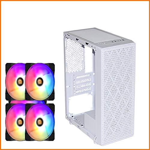 Caso de los juegos de PC ordenador para PC de escr Estuche de host de escritorio, mini estuche de computadora, estuche de cáscara ensamblada transparente lateral M-ATX, panel frontal de metal hueco, c