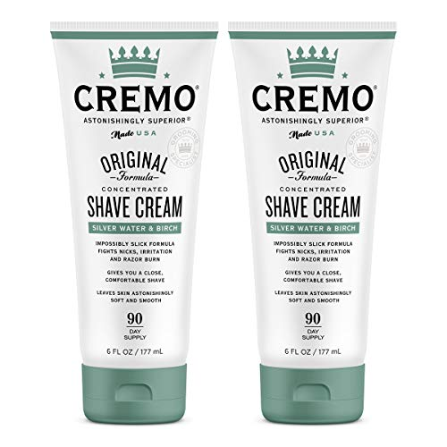 Cremo Barber Grade Silver Water & Birch Shave Cream, 12 Fl Oz (Pack of 2)