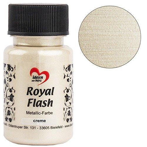Royal Flash, Acryl-Farbe, metallic, mit feinsten Glitzerpartikeln, 50 ml (creme)
