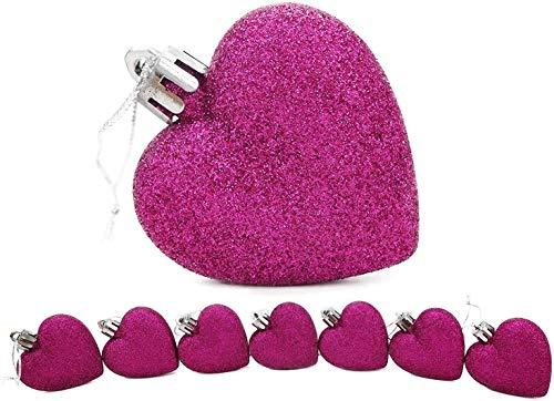 Toyland 8 x 5 cm Violet Glitter + Matt en Forme de Coeur d'arbre de Noël Babioles