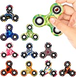 SCIONE 10 Pack Fidget Spinner Stress Relief Reducer ADHD Anxity Toys for Kids Adults Autism Fidgets EDC Hand Spinners Trispinner Finger Toy Focus Fidgeting Restless Tri-Spinner Party Favors