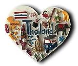 Aimant de réfrigérateur 3D Thaïlande en forme de cœur - Décoration de...