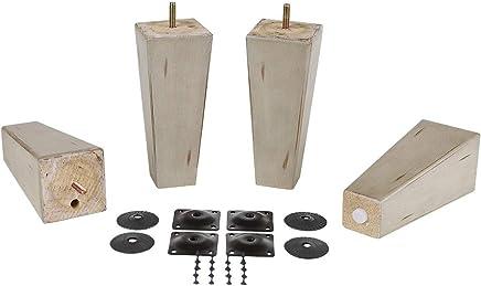 ProFurnitureParts 7 Inch Antique Gray Finish Square Tapered Pyramid Wood Sofa Legs Set of 4 w/Leg Plates