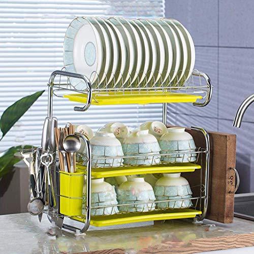 Diskställ, 3-lagers köksutrustning för att torka, tvätta och tömma diskställ, förvaringsställ för metallbestick, 25 * 45 * 53 cm (Färg: grön)
