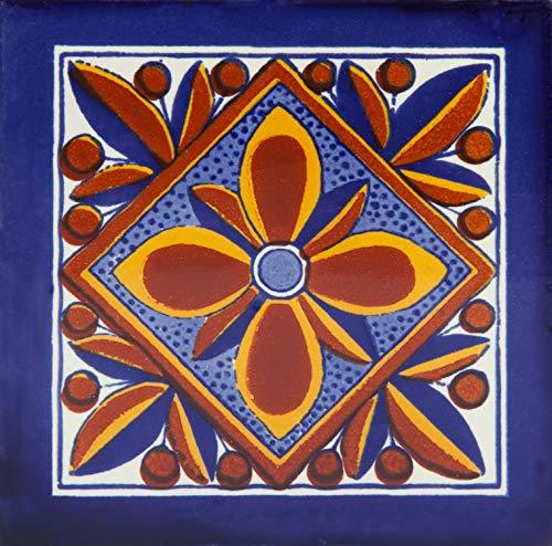 Fuego - Azulejos Mexicanos de 10x10 cm, Paquete de 30 piezas, Baldosas de cerámica artesanal de Talavera para baños, pared de cocina, ducha, escaleras