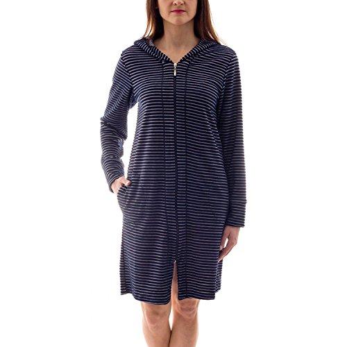 Aquarti Damen Bademantel mit Reißverschluss Streifenmuster, Farbe: Streifenmuster Dunkelblau, Größe: XL