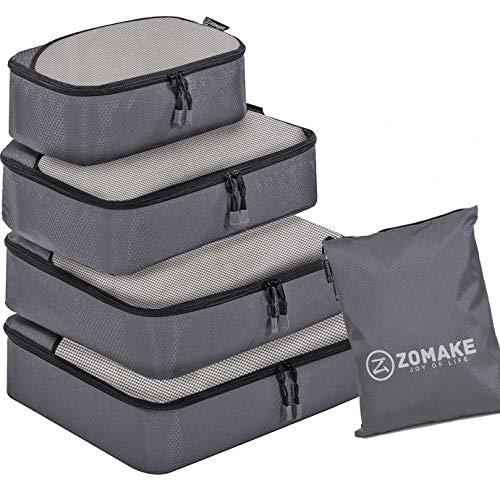 ZOMAKE Organizador para Maleta,5 Piezas Bolsa de Almacenamiento Maleta Caja de Almacenamiento de Viaje(Gris)