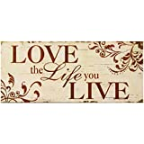 Decorative Wood Wall Hanging Sign Love the Life you Live Burnt Orange Beige Home Decoration By meijiafei